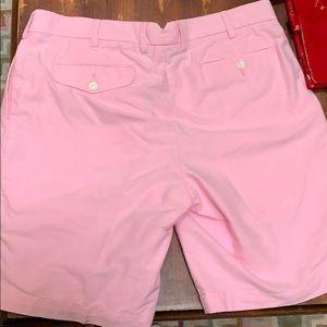 Pink flat front Ralph Lauren Polo shorts.